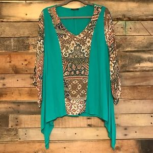 Gibiu teal blouse with patterned sleeves & front